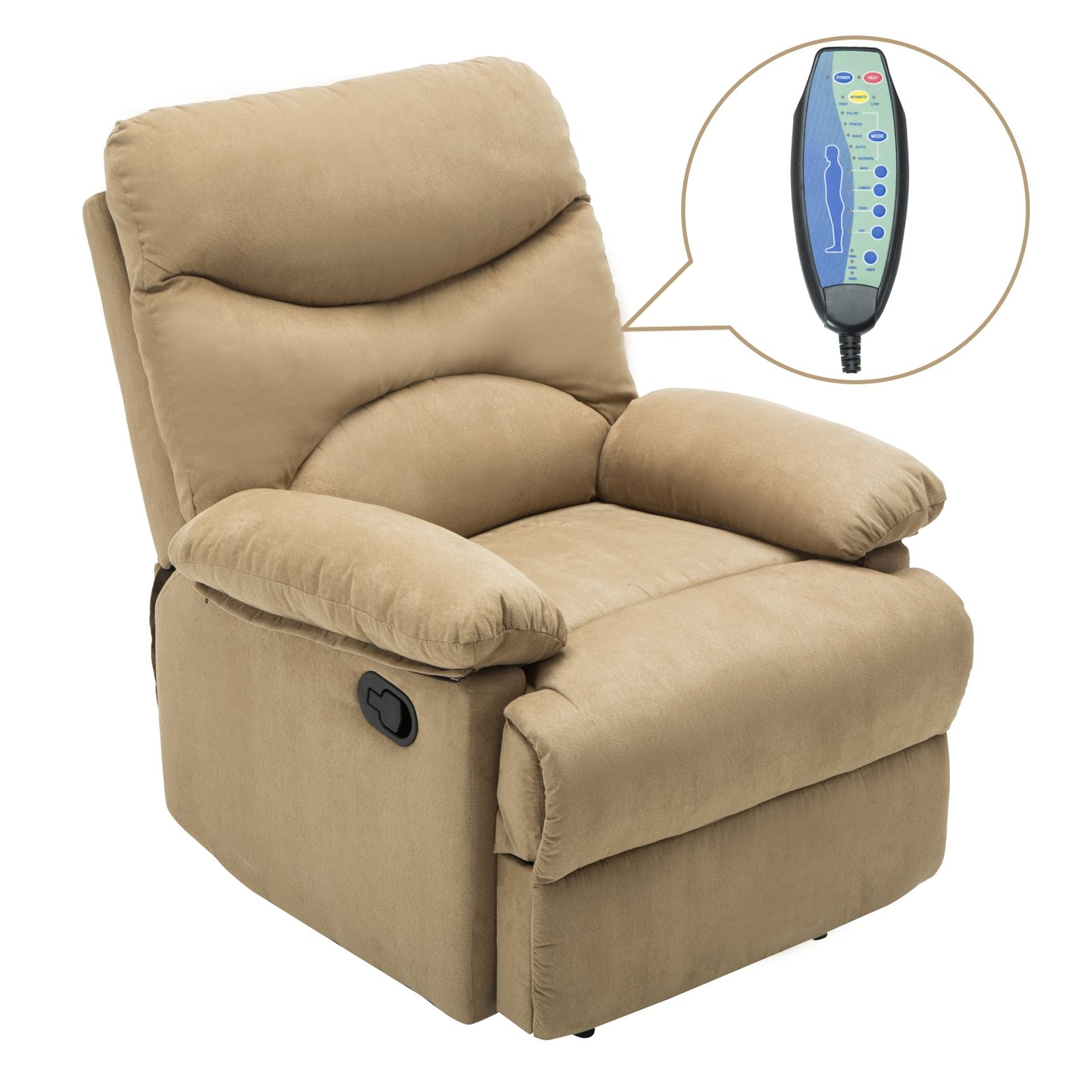 Ergonomic Massage Recliner Sofa Chair Microfiber Lounge Heated Wcontrol  Ebay