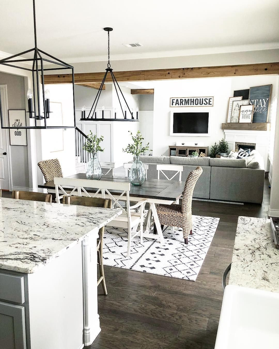 Farmhouse Style Open Layout With Kitchen Dining Room And Living Room Farmhousestyle Greatroom