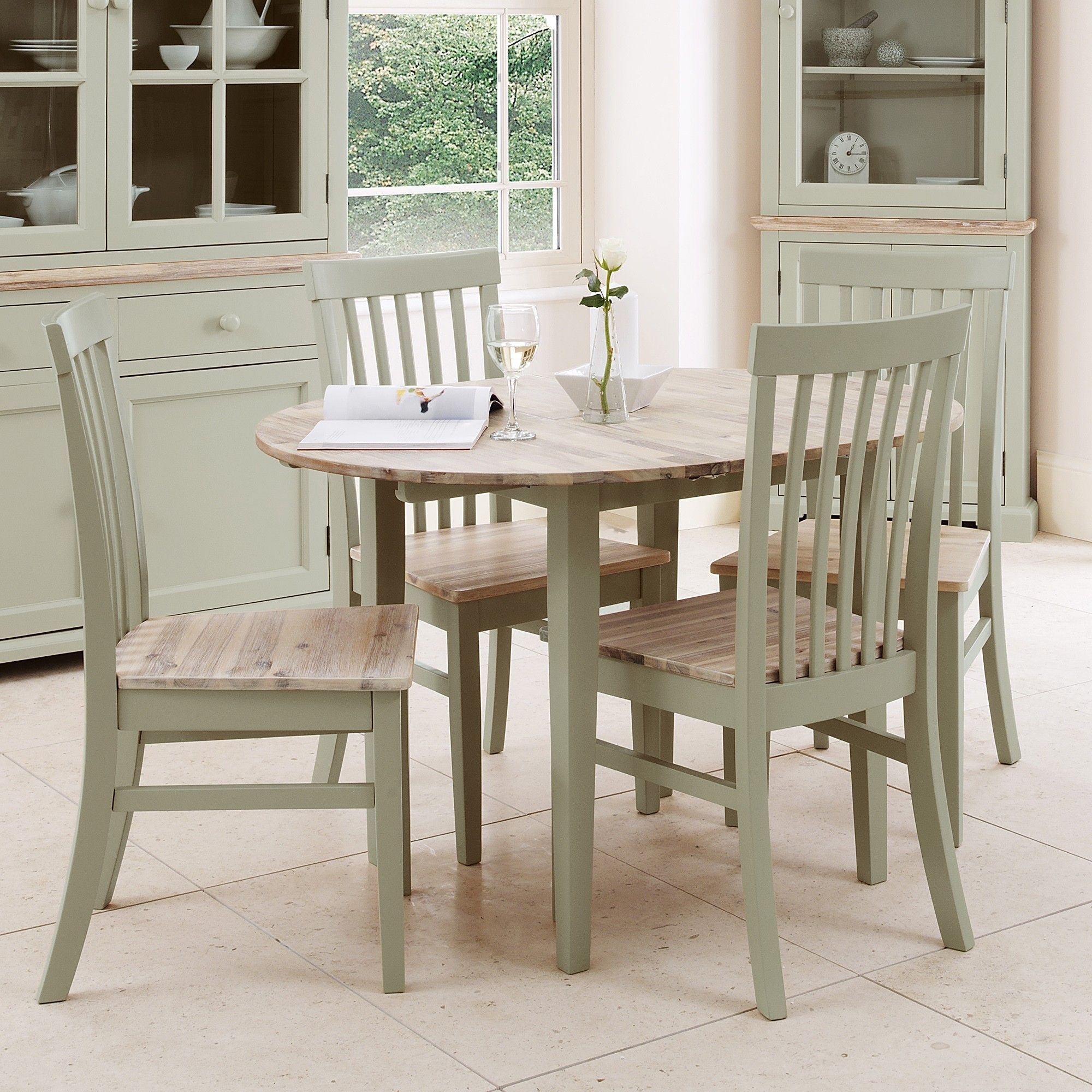 Florence Round Extended Table 92117Cm  Sage Green