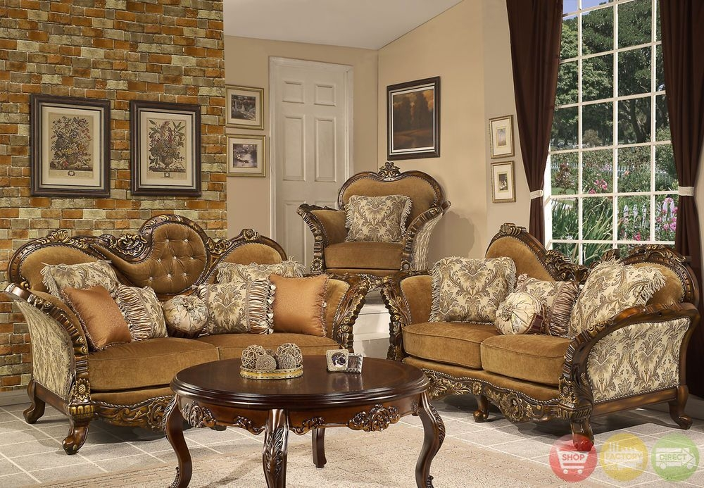 Formal Sofa  Loveseat Living Room Set Antique Style Traditional Couch Hd260  Victorian Living