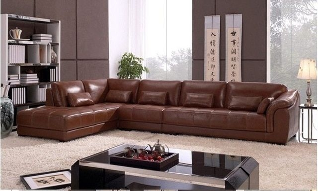Free Shipping Living Room Sectional Leather Corner Sofa Classic L Shaped European Design
