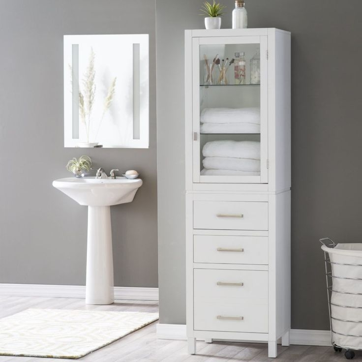 Free Standing Bathroom Cabinets Ikea Decor Ideas Tall Bathroom With Images  Freestanding