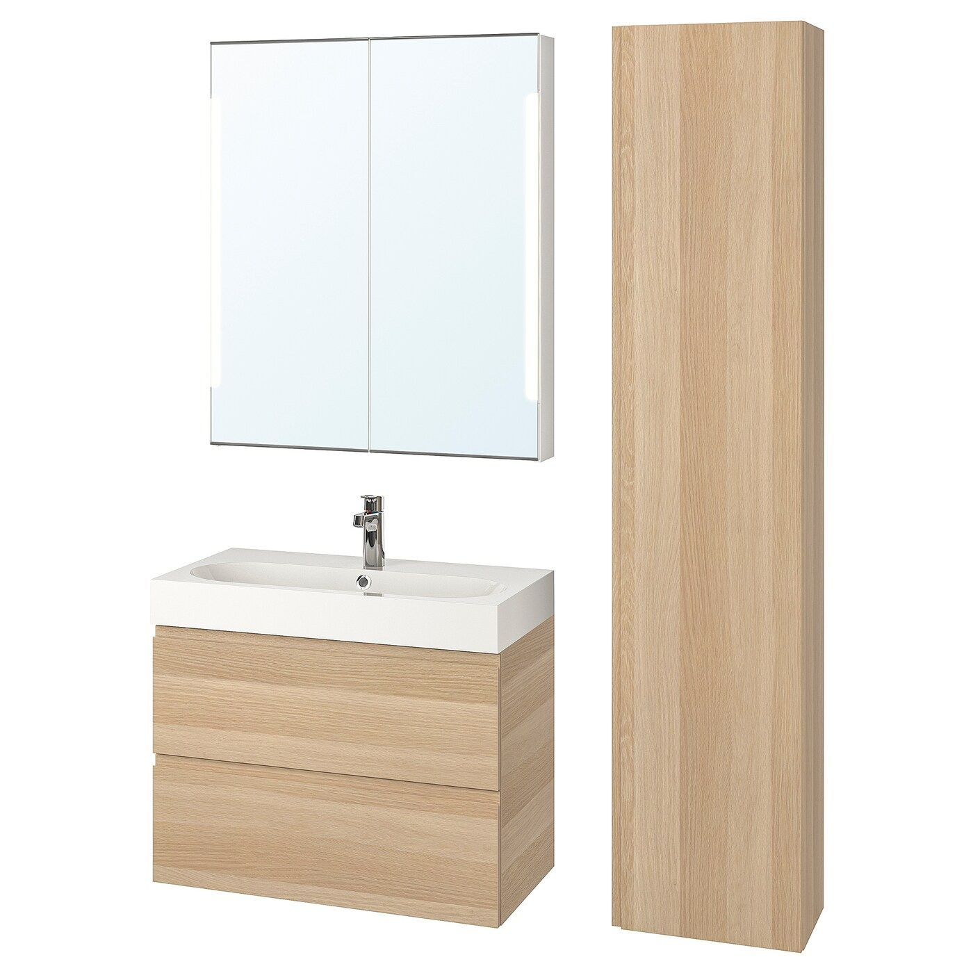 Godmorgon  Bråviken Bathroom Furniture Set Of 5  White Stained Oak Effect Brogrund Tap  Ikea
