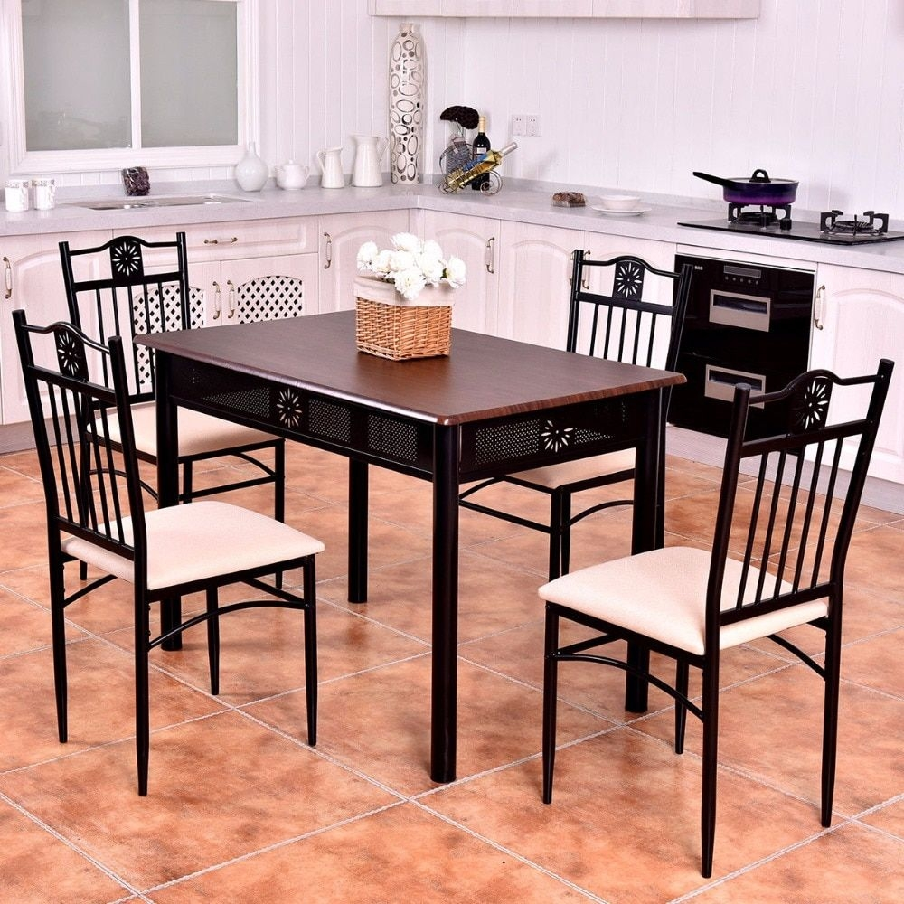 Goplus 5 Piece Kitchen Dining Set Wood Metal Table And 4 Chairs Kitchen Breakfast Modern Dining