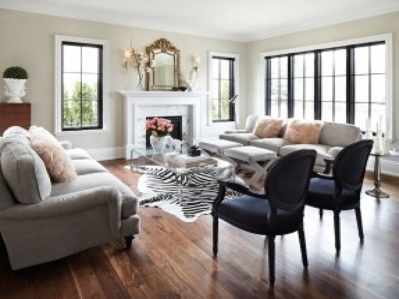 Gray And White Zebra Rug Arm Chairs Living Room Living Room With Sofas Facing Each Other