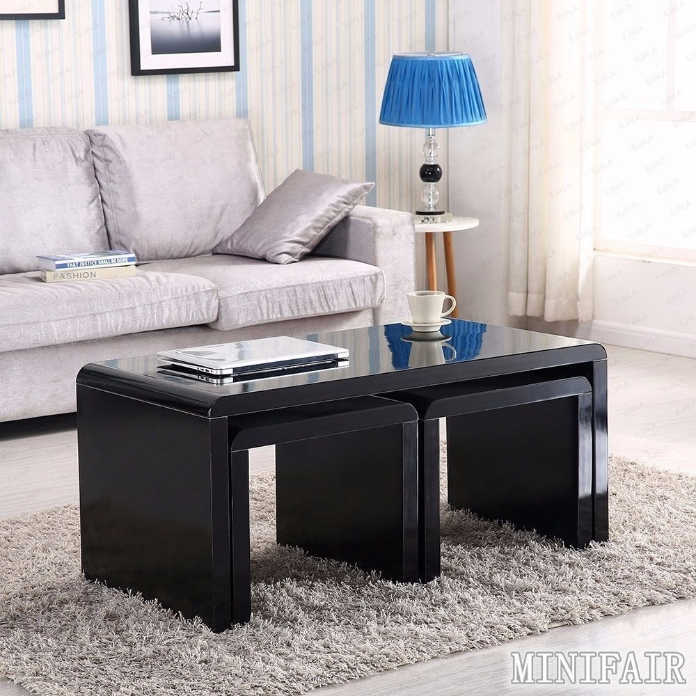 High Gloss Black Coffee Table Side End Nested Tables Set Living Room  Ebay