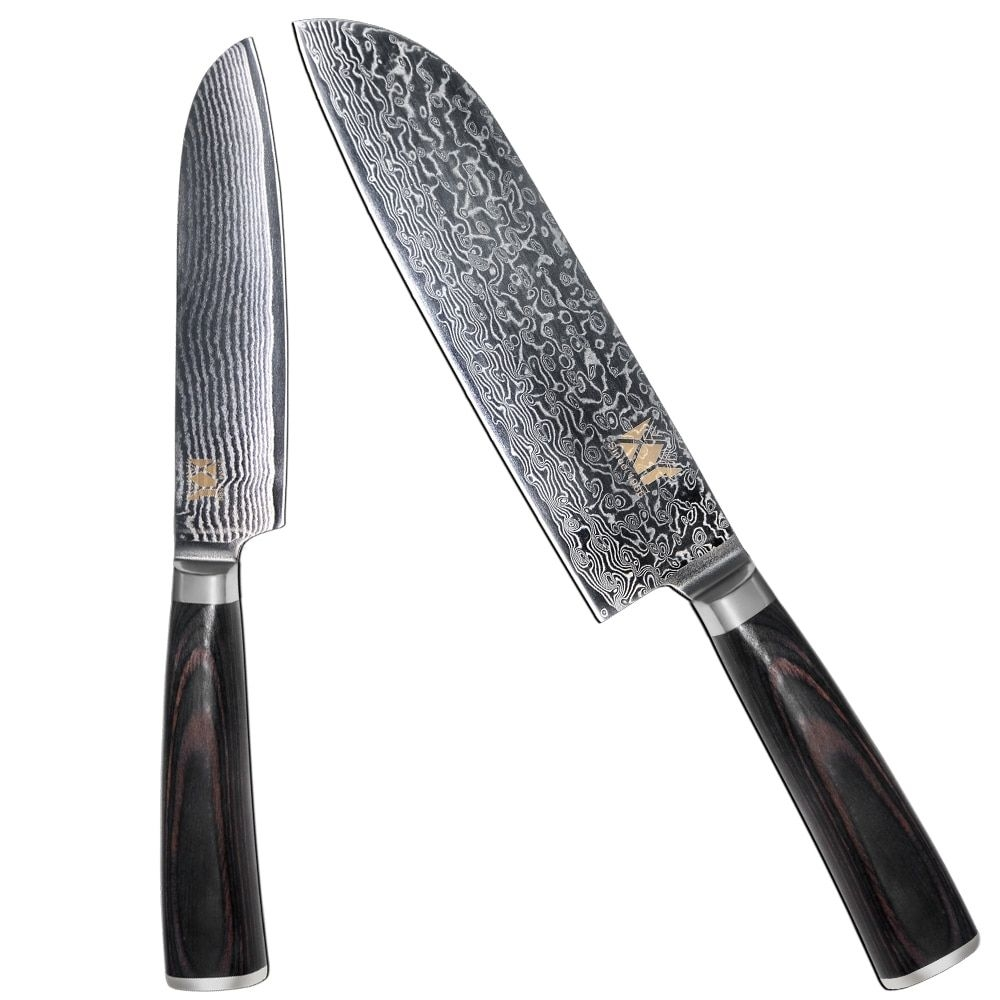 High Quality Damascus Knife Set 7 Inch 5 Inch Santoku Knife Vg10 Steel Core Color Wood Handle