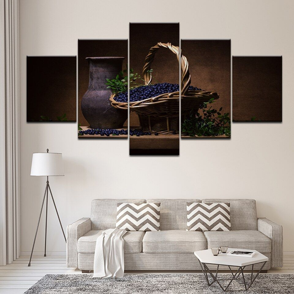 Home Decoration Canvas Living Room Hd Modern 5 Panel Blueberries Printed Pictures Painting Wall