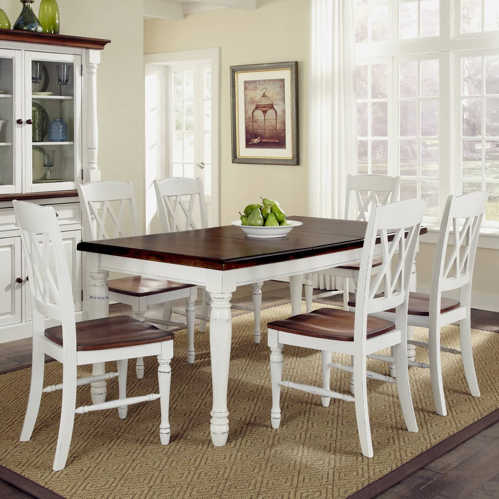 Home Styles Monarch 7 Piece Dining Table Set With 6 Double Xback Chairs  White  Oak  Dining