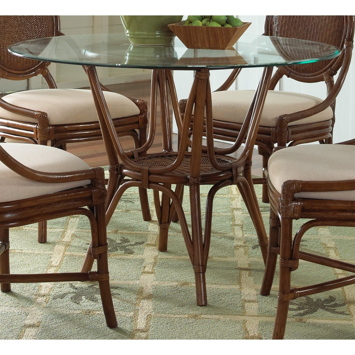 Hospitality Rattan Oyster Bay Indoor Rattan  Wicker 42 In Round Dining Table With Glass Top