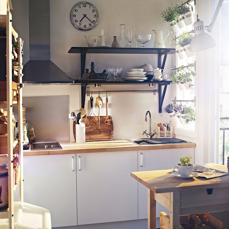 Ikea Applad Cabinets With Black Open Shelving And Herb Pots Hanging In The Window Lo…  Simple
