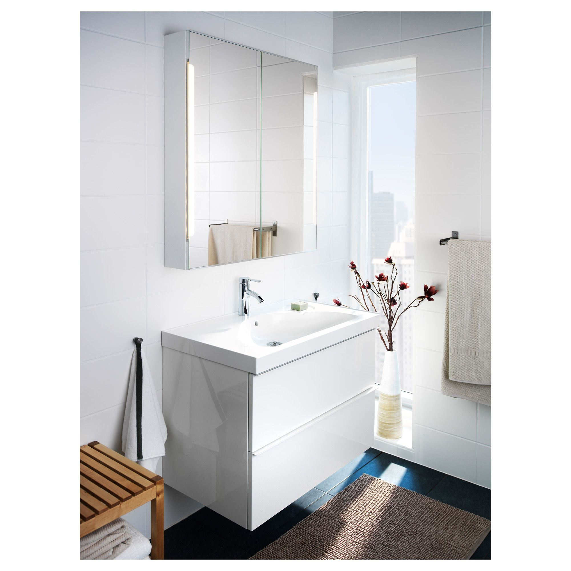 Ikea  Storjorm Mirror Cabinet W2 Doors  Light White In 2019  Bathroom Mirror Cabinet