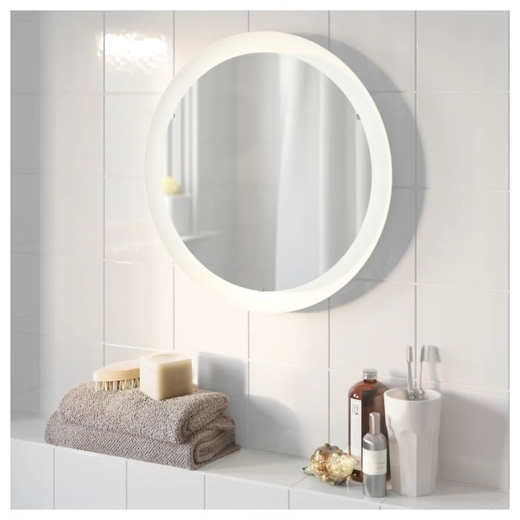Ikea Storjorm White Mirror With Builtin Light  Mirror With Built In Lights Bathroom Mirror