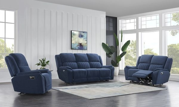 Indigo Microfiber 3Piece Reclining Living Room Set In 2020  Living Room Sets Living Room Room