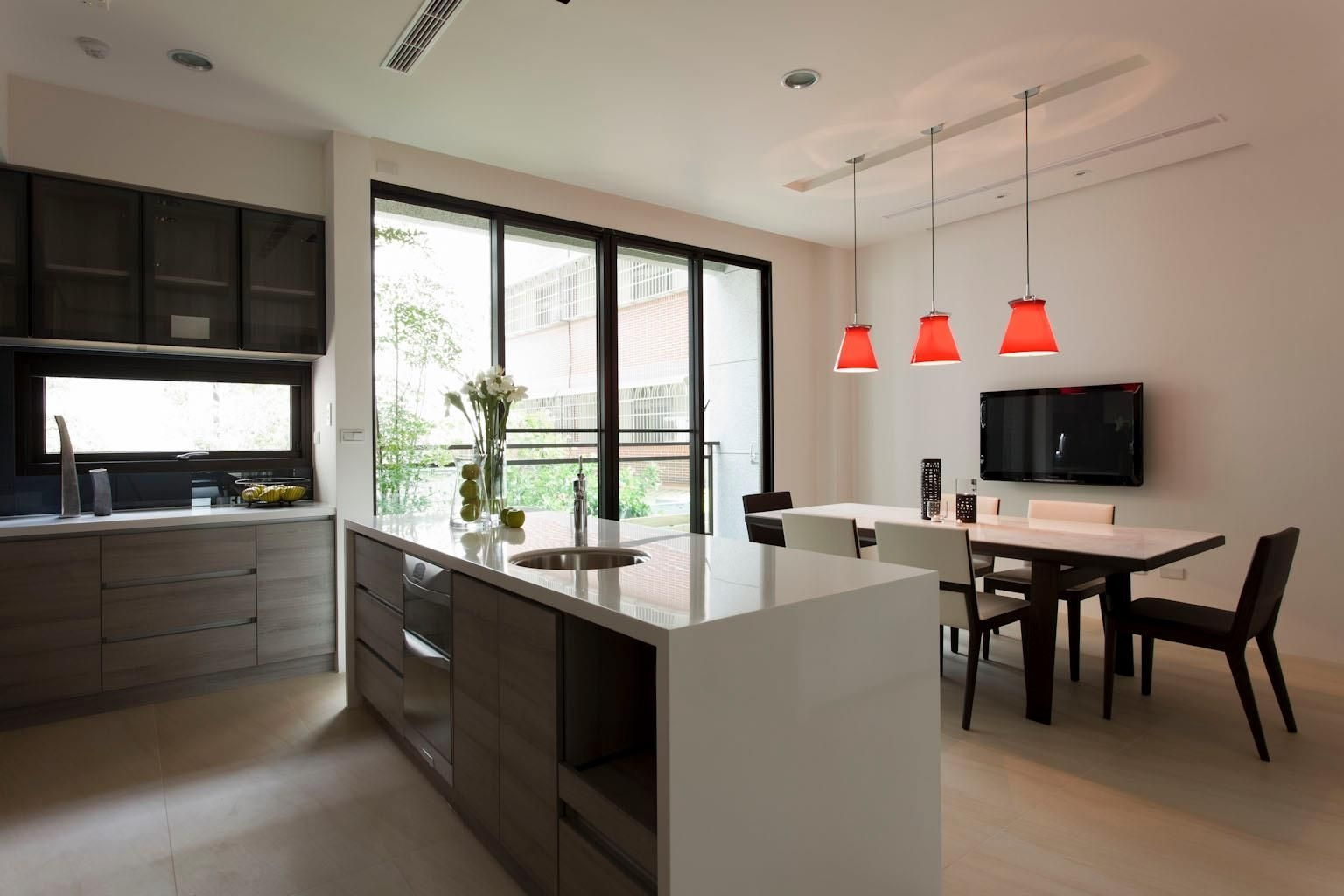 Interior Modern Kitchen Diner Orange Pendant Lamp Dining Room Design Ideas Kitchen Island