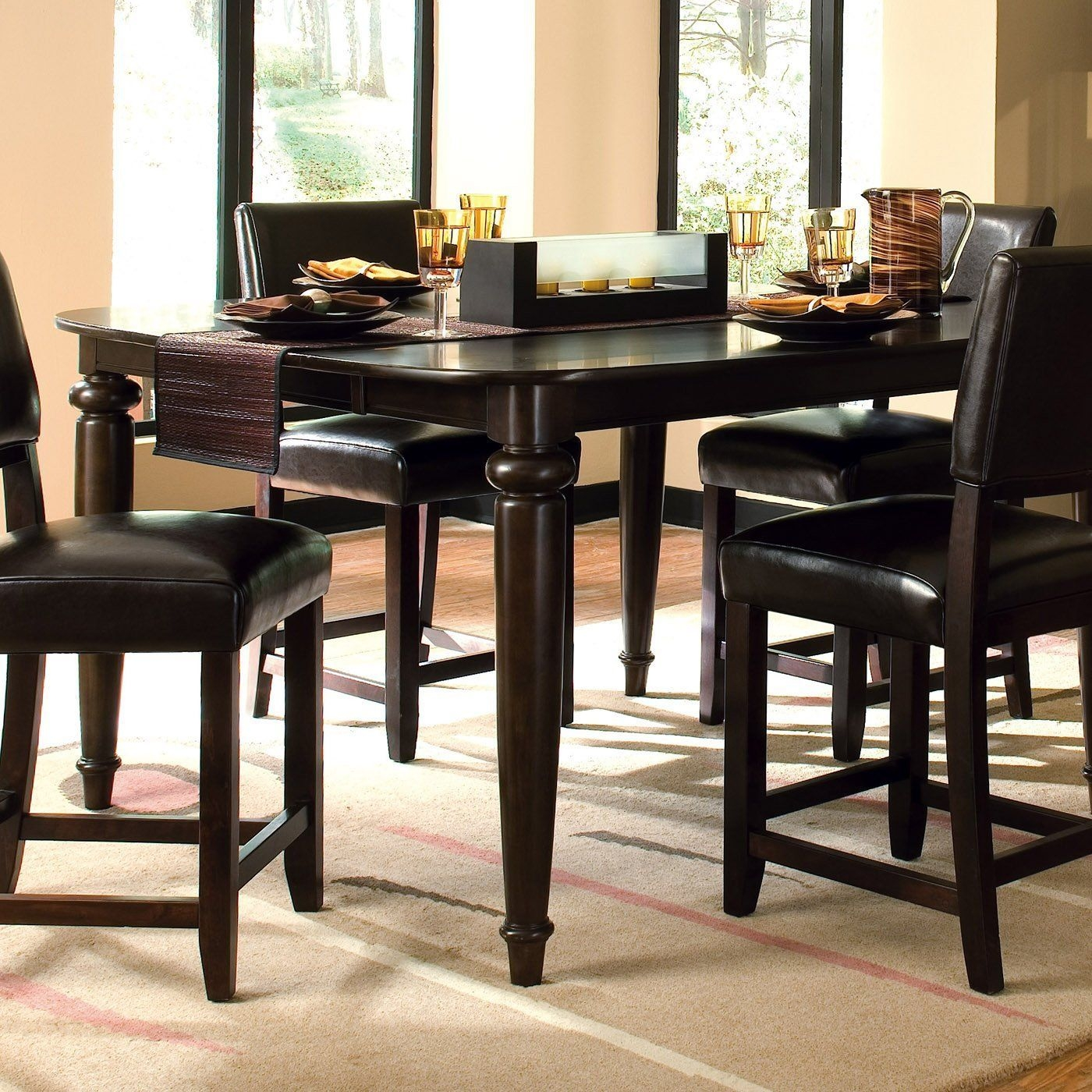 Kincaid Furniture 46058 Somerset Tall Dining Table Espresso  Round Kitchen Table Set Tall