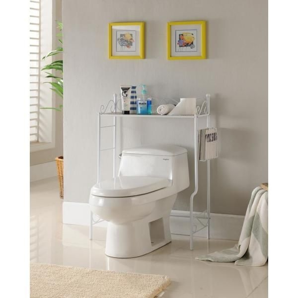 Kings Brand Furniture White Freestanding Etagere Bathroom Shelf Storage Organizer Rackw6211Mb