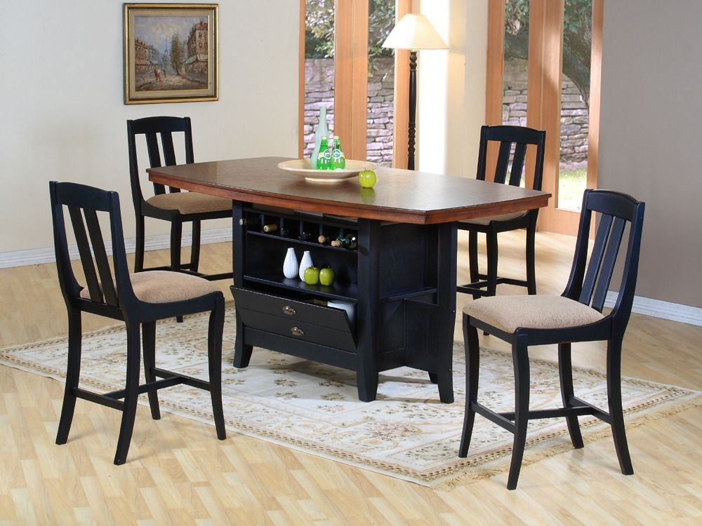 Kitchen Island Dining Set  Traditional Wood Rectangular Dining Area Furniture Collection With