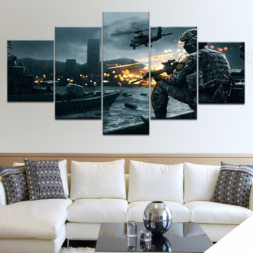 Living Room Framework Hd Home Printed Pictures 5 Panel Game Battlefield Modern Canvas Painting