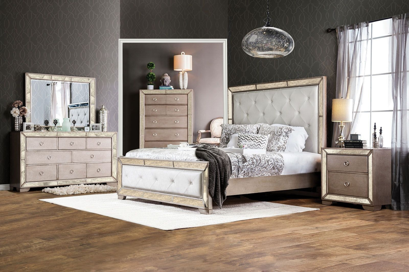 Loraine Silver Upholstered Panel Bedroom Set From Furniture Of America  Coleman Furniture