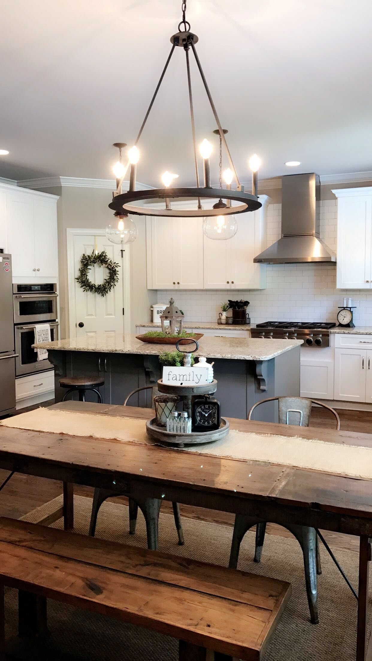 Love The Can Lights In Kitchen Chandelier Over Table  Subway Tile On Stove Wall  Kitchen