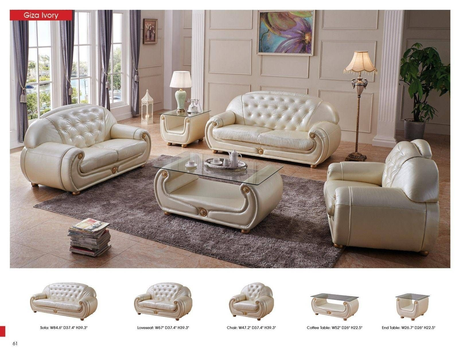 Luxury Light Beige Top Grain Leather Sofa Set 3Pcs Contemporary Esf Giza Esf Giza Beigesofa