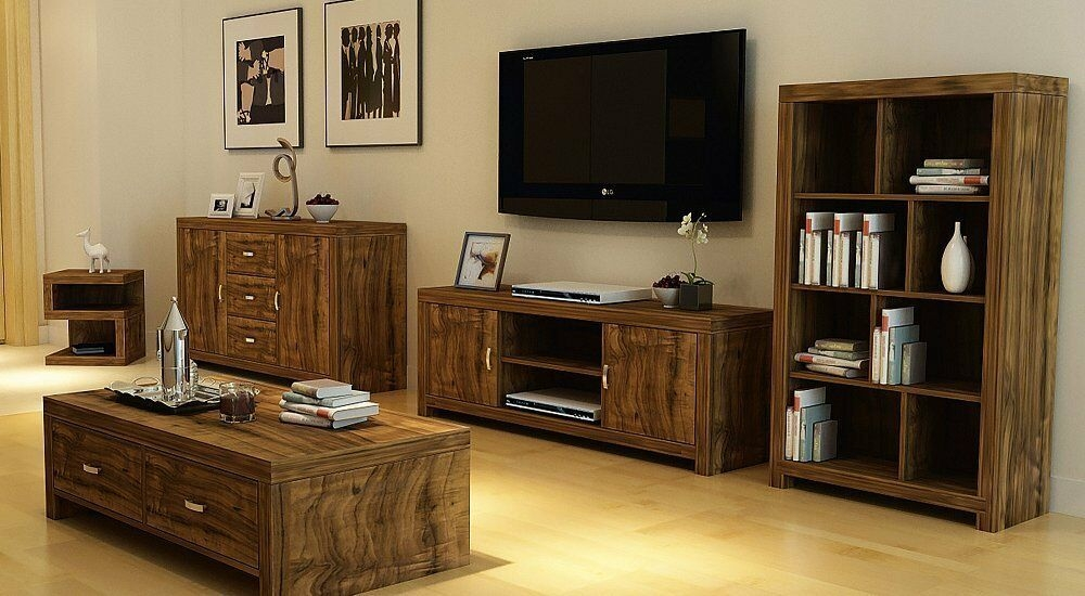 Luxury Living Room Furniture Set Acacia Effect Coffee Table Sideboard Tv Stand  Ebay