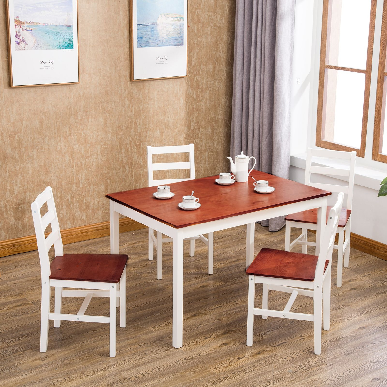 Mecor 5 Piece Dining Table Set 4 Wood Chairs Kitchen Furniture Wood  Walmart