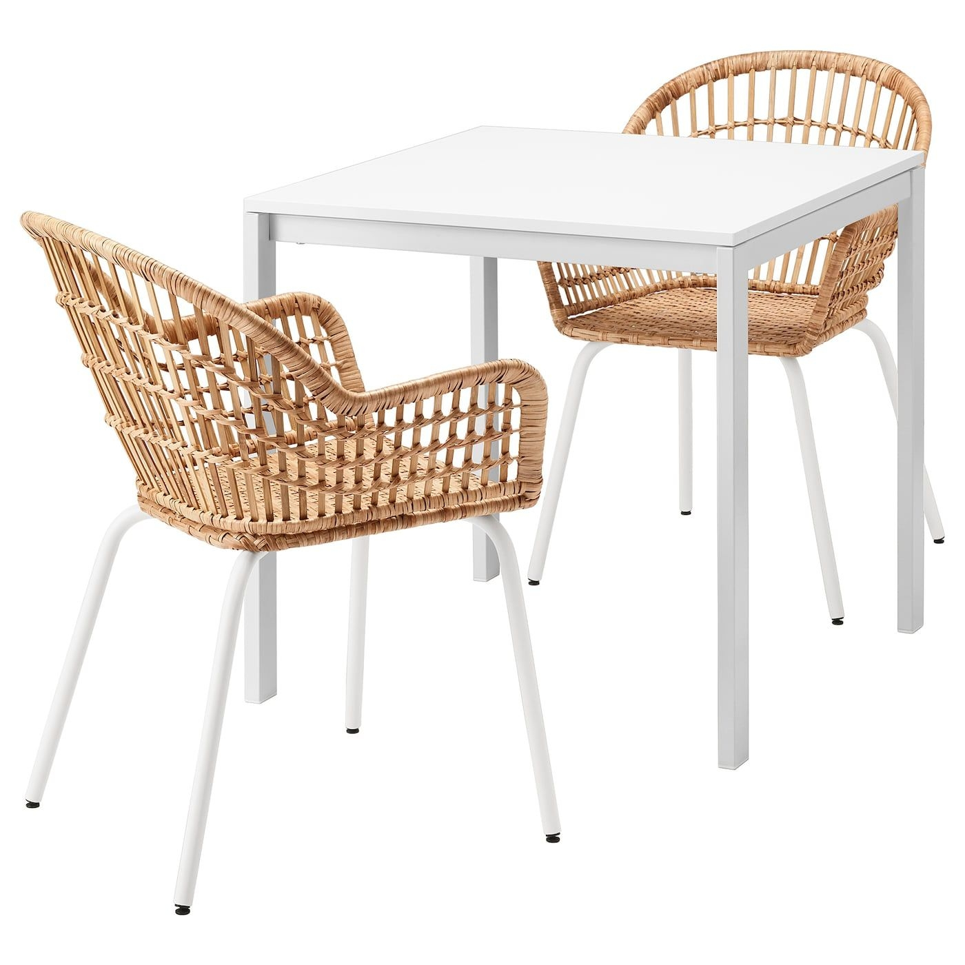 Melltorp  Nilsove Table And 2 Chairs  White Rattan White  Ikea