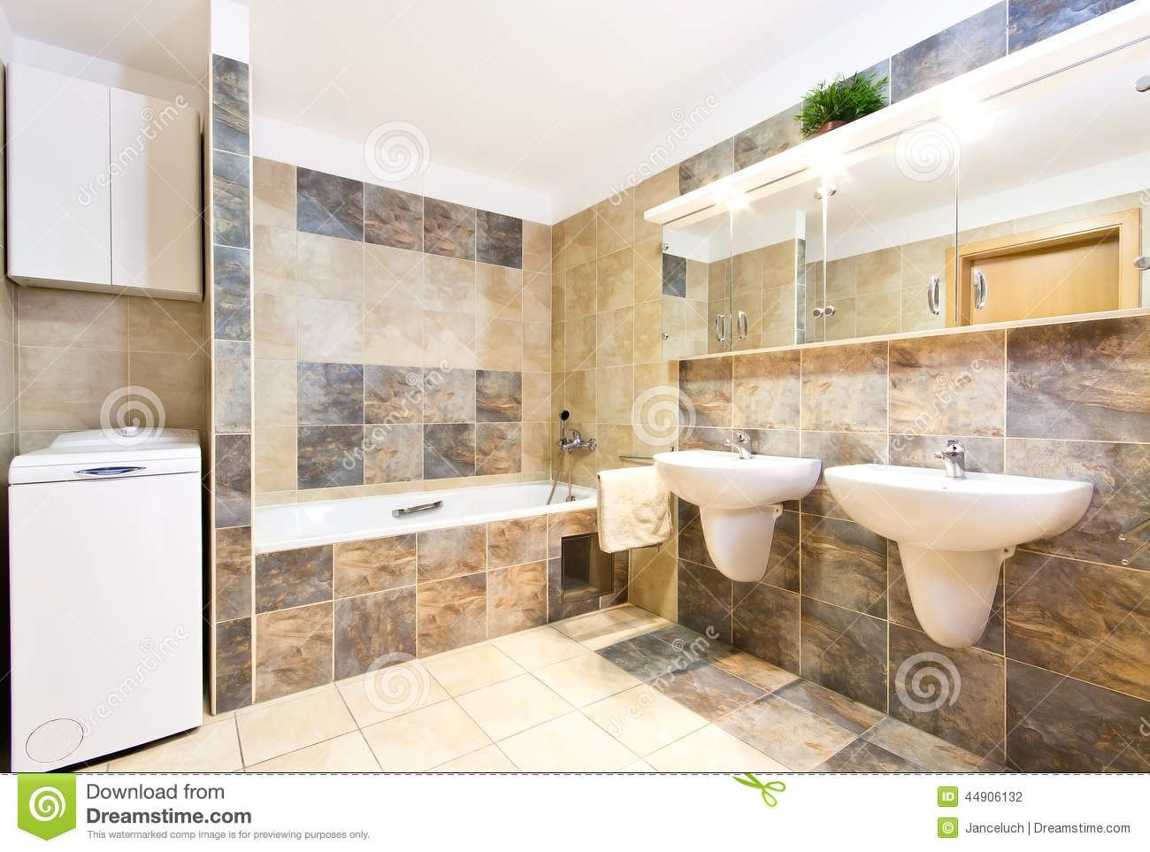 Modern Clean Bathroom With Two Washbasins Stock Photo  Image Of Mirror Stylish 44906132