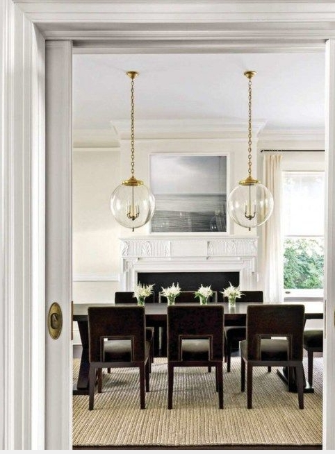 Modern Dining Chairs And 2 Pendants Over Dining Table With Images  Dining Table Chandelier