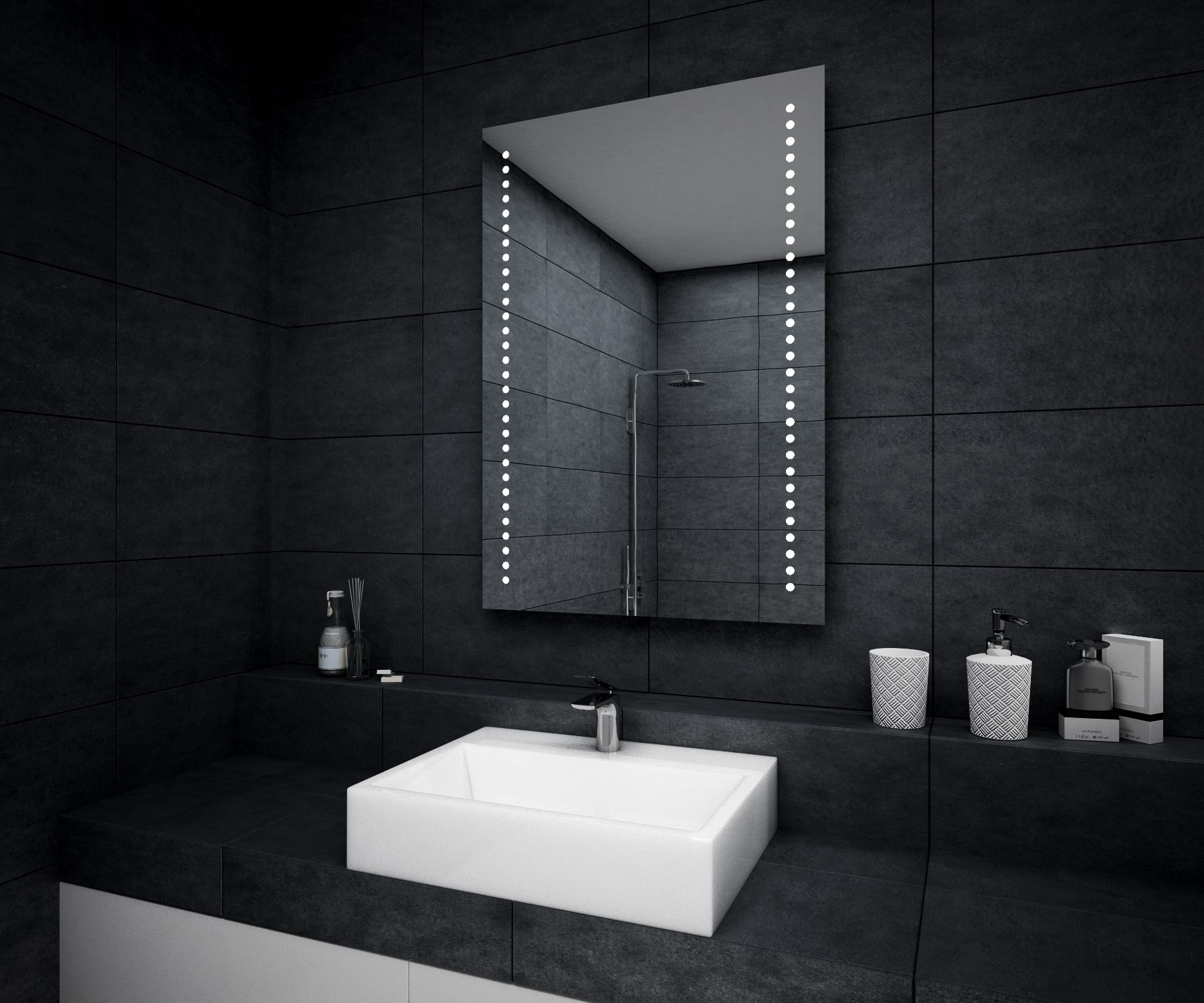 Modern Led Illuminated Bathroom Mirror 500X700Mm Battery Operated L69  Ebay