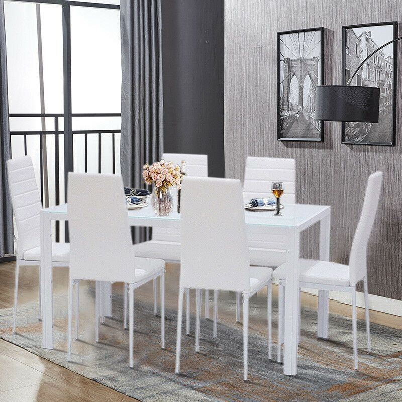 Modern White Glass Dining Table Set And 46 Padded Leather Chairs Home Kitchen  Ebay