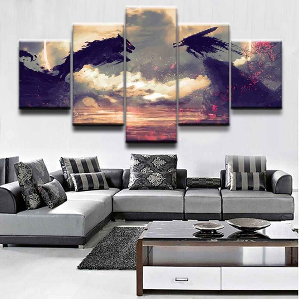 Modular Art Painting Hd Printed Frame Home 5 Panel Berserk Guts Wolf Living Room Wall Pictures
