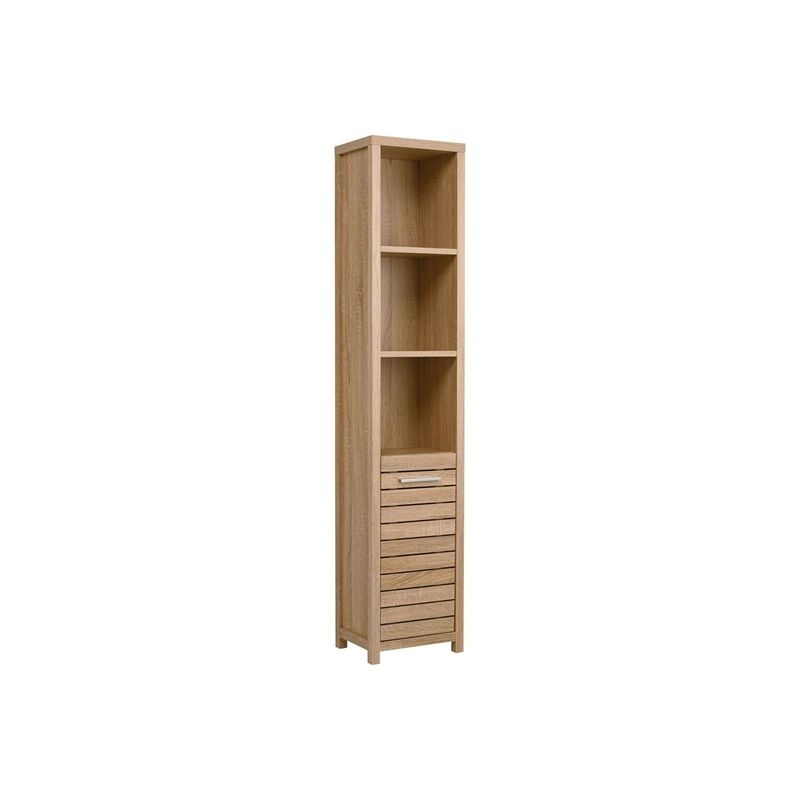 Mondella Skydale Tall Boy Bathroom Cabinet  Slatted Wood Grain At Homebasecouk