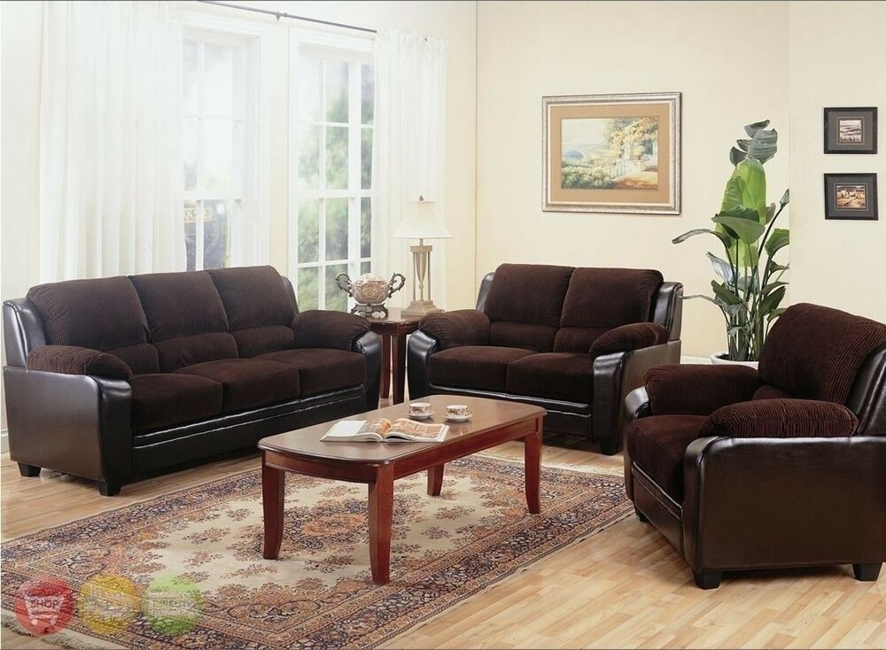 Monika Chocolate Sofa Loveseat  Chair Casual 3 Piece Living Room Furniture Set  Ebay