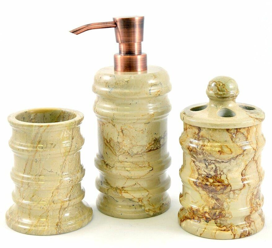 Nature Home Decor Bengal Sahara Beige Marble 3Piece Bathroom Accessory Set  Reviews  Wayfair