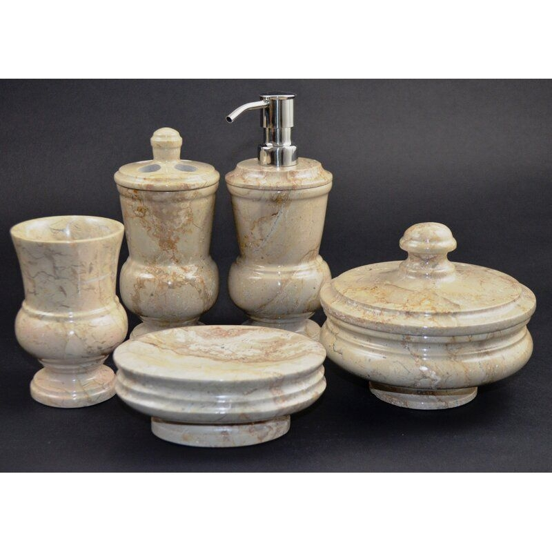 Nature Home Decor Mediterranean Sahara Beige Marble 5Piece Bathroom Accessory Set  Reviews