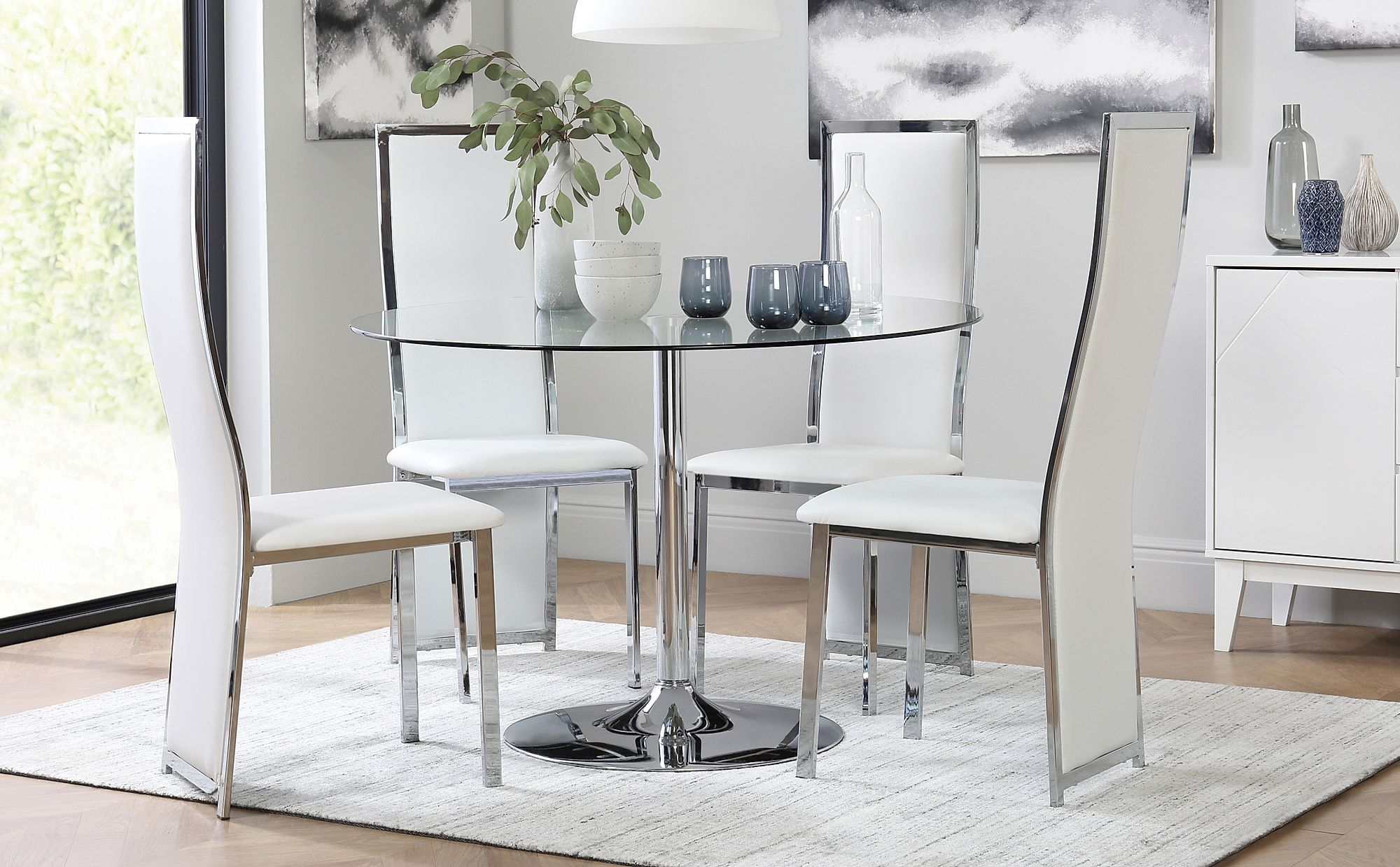 Orbit Round Chrome And Glass Dining Table With 4 Celeste White Leather Chairs  Furniture Choice