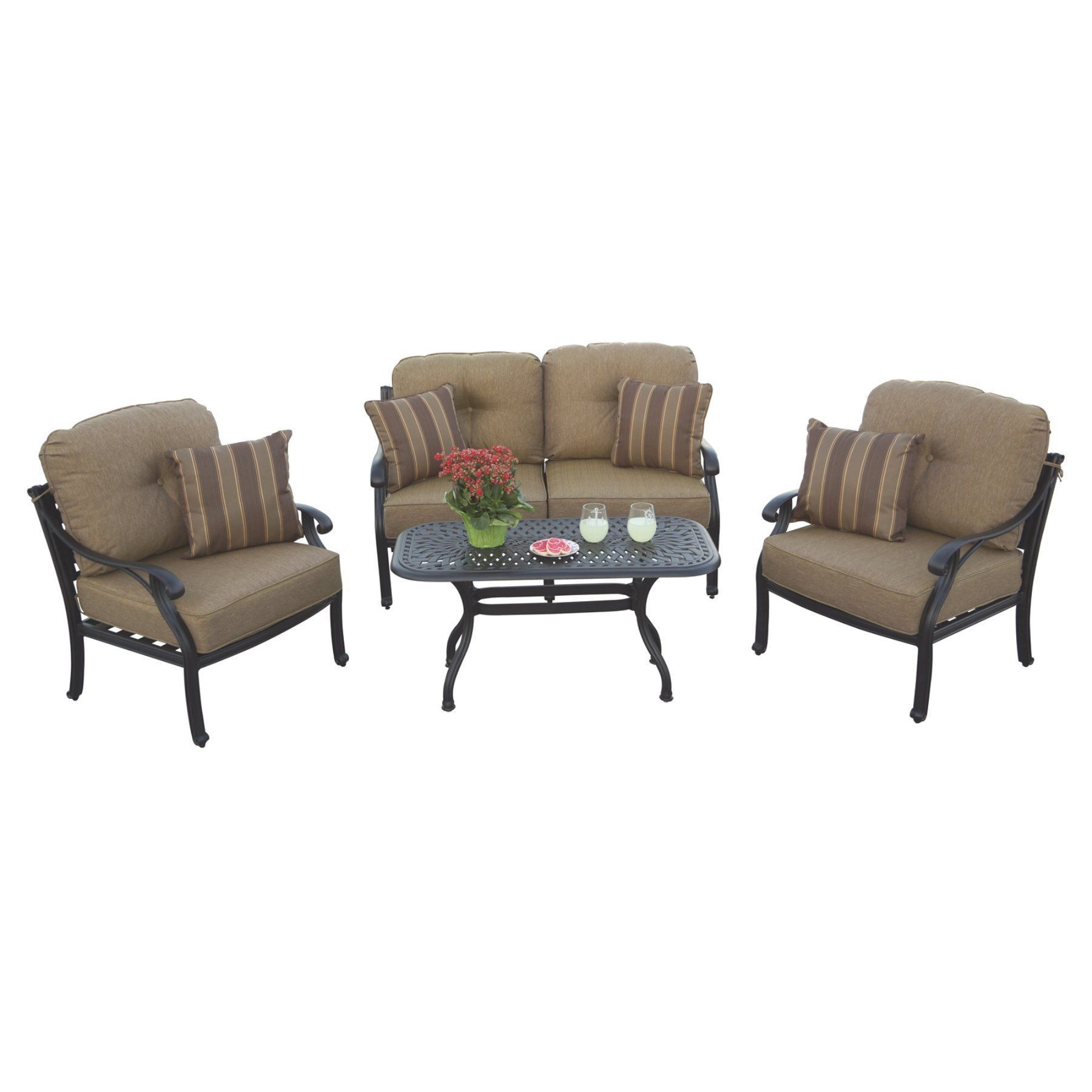 Outdoor Darlee Nassau 4 Piece Aluminum Loveseat Patio Conversation Set  Dl6034Pc60B  Sofa