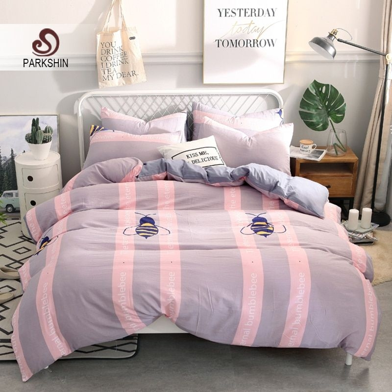 Parkshin Happy Bee Bedspread Pink Bedding Set Gray Bed Sheet Child Single Twin Adult Double Bed