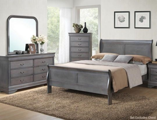 Philippe Grey 6Pc King Bedroom Set With Nightstand  Art Van Furniture  Grey Bedroom Furniture