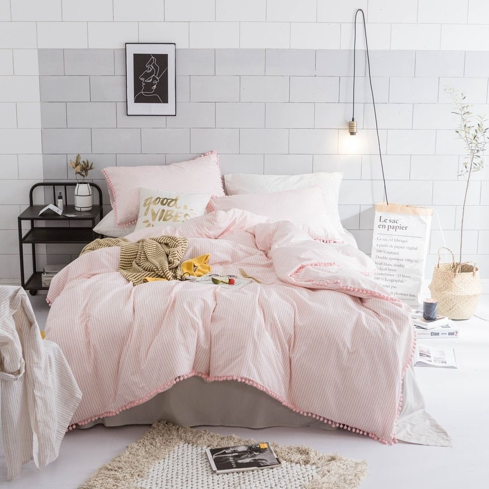 Pink Stripes Duvet Cover Set 100 Cotton Pompom Girls Bedding Sets For Adults Twin Queen King