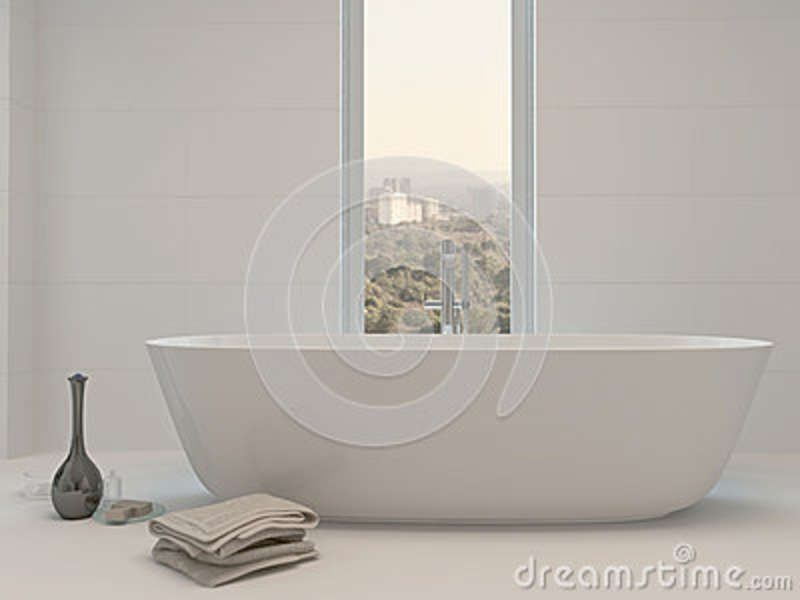 Pure Clean White Bathroom Interior With Bathtub Stock Illustration  Illustration Of Jacuzzi