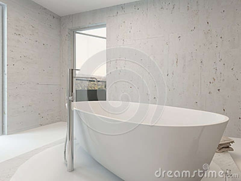 Pure Clean White Bathroom Interior With Bathtub Stock Illustration  Illustration Of Mirror
