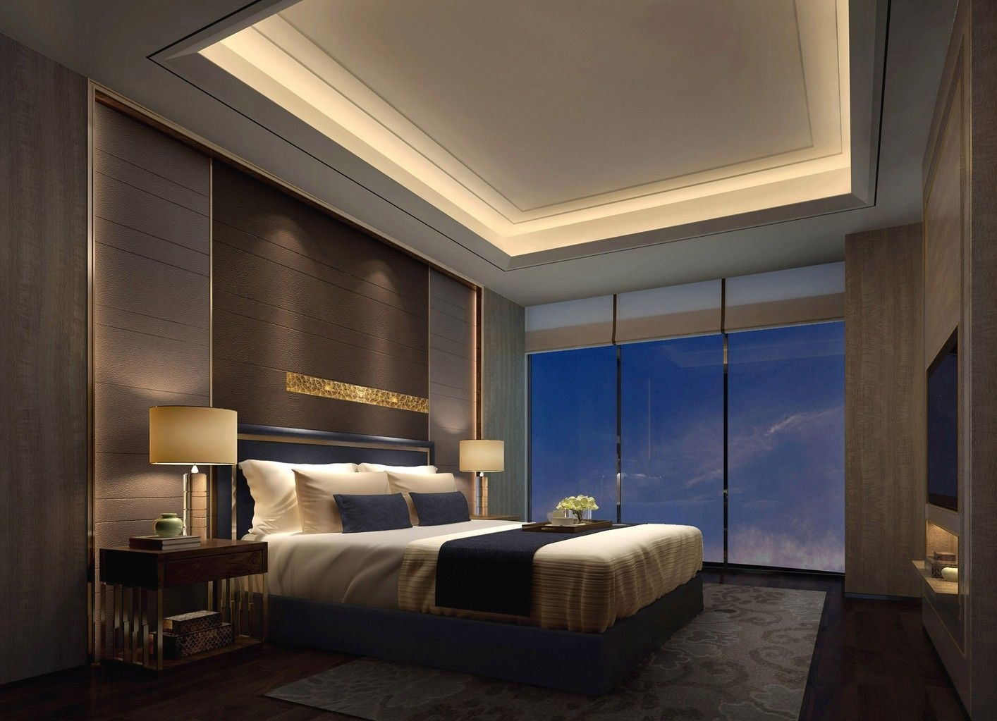 Recessed Master Bedroom Ceiling With Hidden Lights  Remodel Bedroom Ceiling Design Bedroom