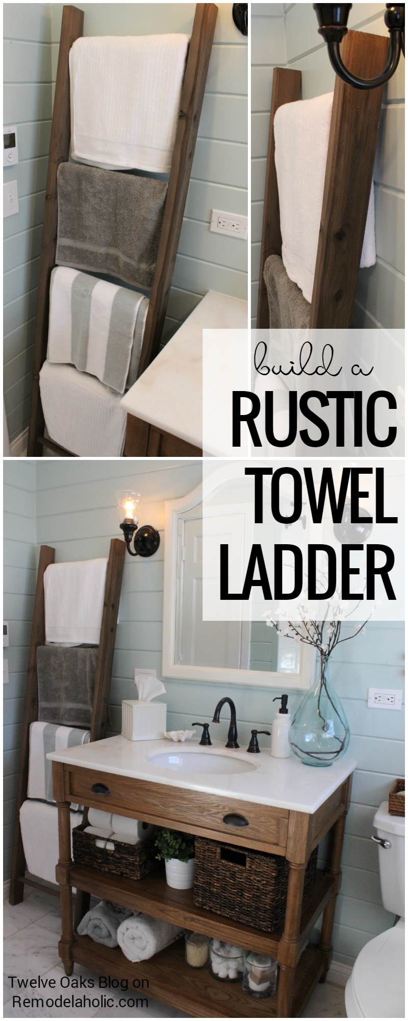 Remodelaholic  How To Build A Rustic Towel Ladder