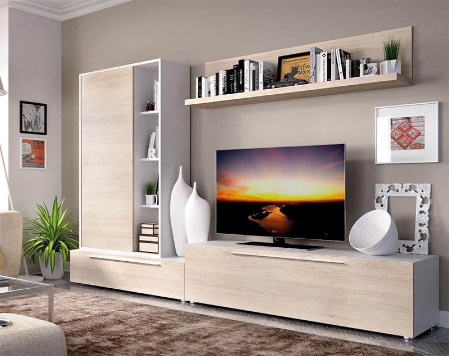 Rimobel Modern Tv Unit And Cabinet Composition In Natural And White  Living Room Tv Cabinet