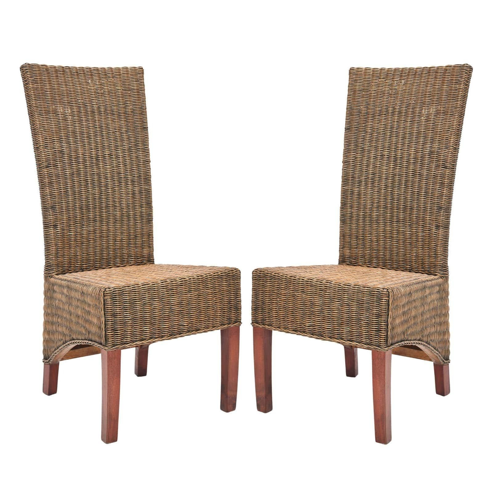 Safavieh Charlotte Wicker High Back Dining Side Chairs  Dark Honey  Set Of 2  Dining Chairs