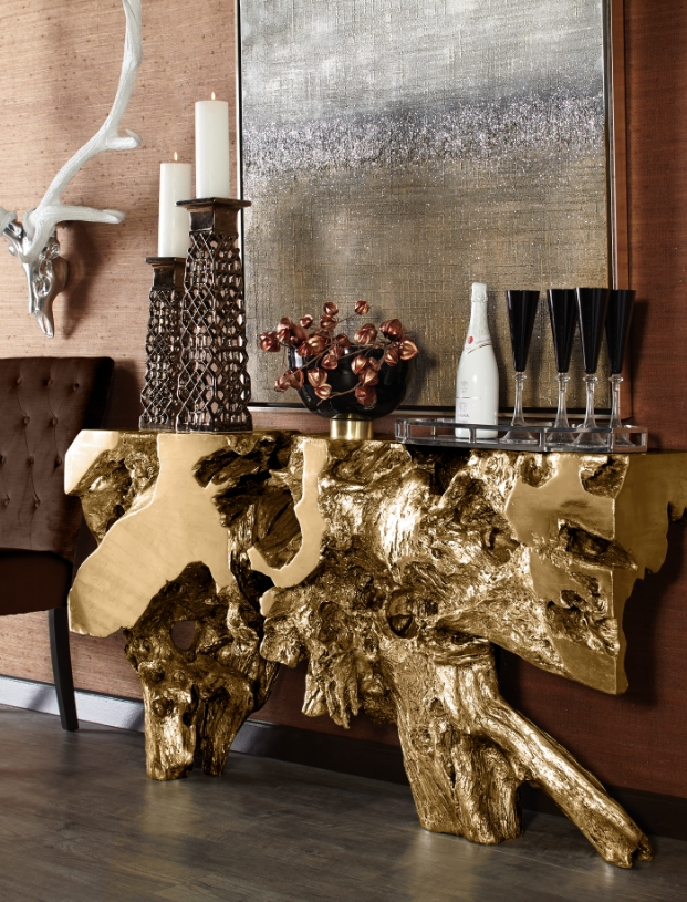 Sequoia Console Table In Gold  Decor Home Decor Foyer Decorating